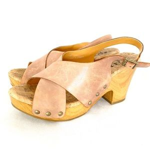 Kork Ease leather strappy sandals heels sz 7 nude